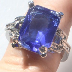 Jewelry - Blue Sapphire Ring size 7 Silver Cocktail Bling